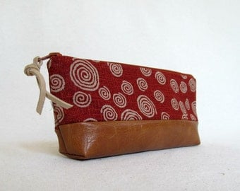 Pencil Pouch //  Japanese Import Cotton and Faux Leather