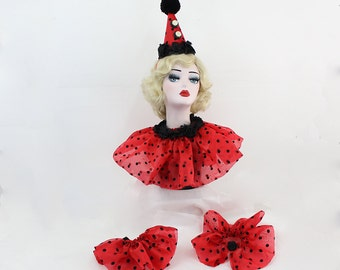 Red Clown Hat, Collar and Cuffs, Circus Costume, Carnival Costume, Halloween Costume, Clown Hat, Burlesque Costume, Birthday Hat, Glam Clown