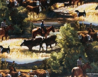Western Cattle Drive Cowboy Horses Steer Cows Scenic Custom Sewn Valance NEW t4/28