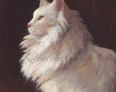 White Cat, Golden Eyes, 11 x 14 archival print on matte paper of an original painting by Kathleen Casey