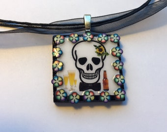 Rainbow Flower Framed Cerveza Y Sugar Skull Day of the Dead Pendant Necklace
