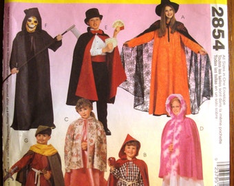 McCalls 2854 Costumes Pattern. Uncut. Cape and Tunic. Halloween. witch, princess, magician, ghoul, grim reaper, Robin Hood, Maid Marian