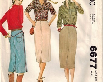 Misses Straight Skirt Buttoned Shirt Vintage 70s Sewing Pattern McCalls 6677 Size 10 Bust 32.5 Jean Skirt Shaped Yokes Front Back Vents