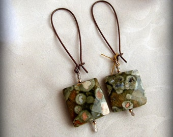 Native Jewelry // Ariel Jasper Copper Earrings // Over Sized Kidney Wire Dangles //