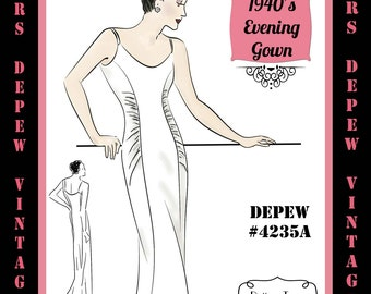Vintage Sewing Pattern 1940's Slim Evening or Wedding Gown with Gathers in Any Size Depew 4235A - PLUS Size Included -INSTANT DOWNLOAD-