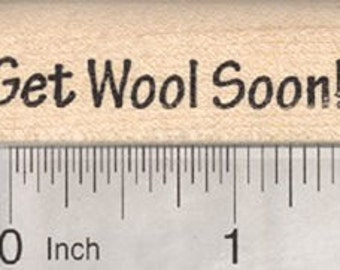 Sheep Feel Well Saying Rubber Stamp, Get Wool Soon B28719 Wood Mounted