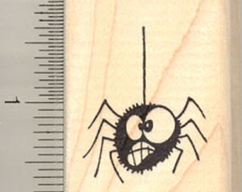 Goofy Halloween Spider Rubber Stamp C9716 Wood Mounted