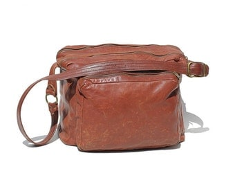 Men's Rust Brown Heavy Leather Weekend Travel Bag