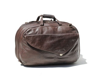 Men's Dark Brown Leather Weekend Travel Bag