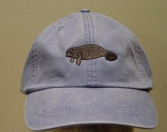 MANATEE HAT - One Embroidered Sea Cow Wildlife Cap - Price Embroidery Apparel - 24 Color Caps Available
