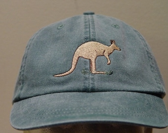 KANGAROO HAT - One Embroidered Australia Wildlife Cap - Price Embroidery Apparel - 24 Color Caps Available