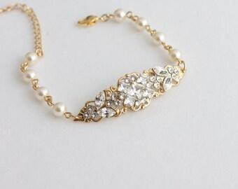 Gold Wedding Jewelry Gold Bridal Bracelet Ivory Pearl Bracelet Filigree Cuff Bracelet Square Crystal  Pearl Wedding Bracelet, ANNA BRACELET