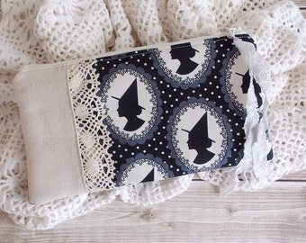 Shabby Halloween Witch Silhouette Black and Cream Lace Zipper Pouch