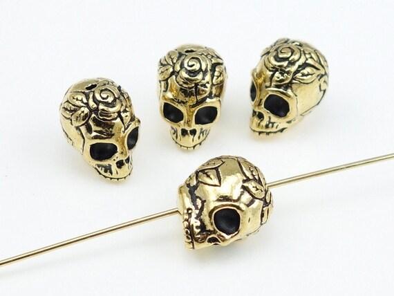 20 Sugar Skull Beads - Antique Gold Skull Beads TierraCast Rose Skull Day of the Dead Dia de los Muertos Metal Beads (P932)