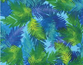 Island Palm Aqua Leaves Benartex Fabric 1 yard