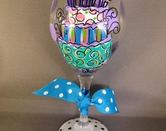 Hand Painted Birthday Cake Birthday Girl Red Wine Glass