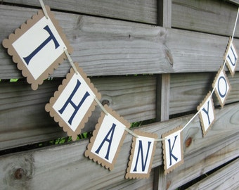Thank You Banner in Navy and Rustic Brown | Wedding Thank You Sign and Photo Prop