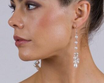 Bridal Long Cluster Earrings. Swarowski Pearls & Crystals.