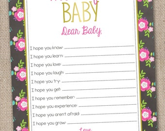 Instant Download Printable Baby Wishes Card Floral Pink Design Printable PDF