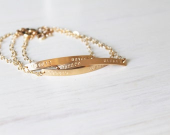 Thin Gold Bar Bracelet, Personalized Bracelet, Silver, Rose or Gold Bar Bracelet, Hand Stamped Gold Bracelet, Name and Date bracelet