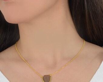 Smoky Quartz Leaf Necklace With Gold Vermeil Silver
