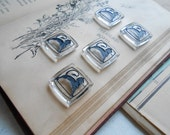 art deco lion intaglio glass square cabs vintage old new stock rare jewelry making