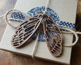 Wooden Laser Cut Bees Wings Earrings