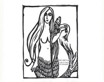Mermaid Wall Decor, Black and White Art, Linocut Relief Print, Fantasy Wall Art, Hand pulled Print, Whimsical Mermaid Art Print Original