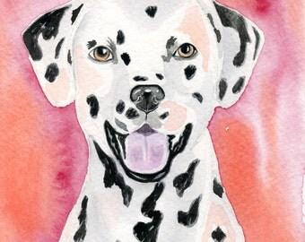 Dalmatian Watercolor Painting, Original Watercolor Dog Art, size 5 x 7, children's art, Dalmatian Dog Home Decor, Dog Lover gift