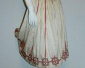 vintage 40s / 50s cream silk EMBROIDERED skirt / red black pattern / folk art costume M