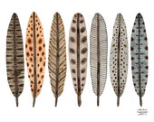LARGE Terra Feathers Collection Print, giclee print, watercolor print, birds feathers illustration, bird art