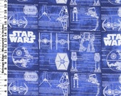 Star Wars Blue Prints on Blue Fabric By The Yard