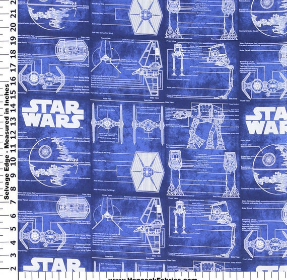 Star wars blue prints on blue fabric by the yard for Star wars fabric