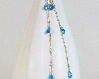 Neon blue Zircon long linear drop gold earrings,minimlist something blue,boho,dangle earrings,blue and gold,sara nolte design