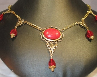 "Gold and Red ""Mountain Jade"" Necklace"