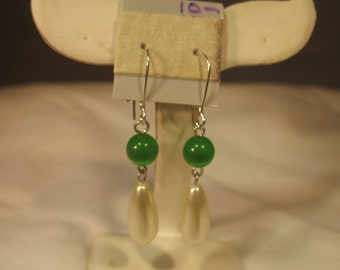 Elizabethan Green Cat's Eye and Pearl Earrings
