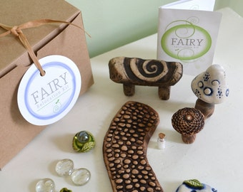 Fairy garden kit: gilded believe gift set 10 items cast marble stone for Miniature garden and Garden gnome