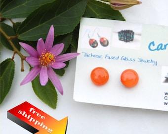 01 Fused glass earrings, orange