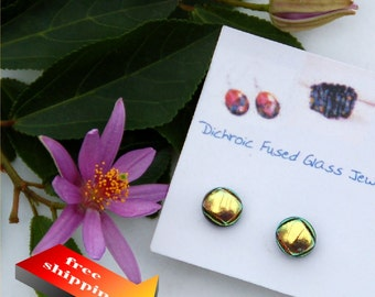 26 Fused dichroic glass earrings, red sparkle, gold shiny