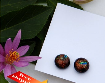 47 Fused dichroic glass earrings, brown with some specks of yellow and green