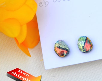 60 Fused dichroic glass earrings, oblong, double dichoic, orange, silver, crinkle
