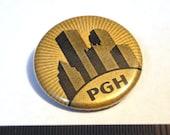 "1.25"" Pittsburgh PGH Skyline Button - Golden Metallic Pinback Button"