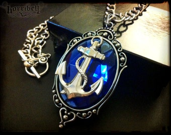 Blue Anchor Necklace // Anchor Jewelry // Rockabilly Necklace // Silver Anchor Pendant // Rockabilly Jewelry // Nautical Jewelry // Navy