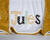 Monogrammed Baby Blanket in GLOW, Gold Dot Minky & White Chenille, Personalized with Your Baby Boy's First Name with Mint, Mustard and Black