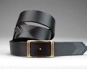 Black Chevron Conway Belt // Men's Belt // Wedding, Groomsman