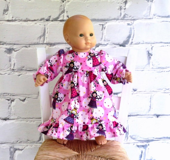 Bitty Baby Doll Pink Nightgown, Fairy Princess Flannel Pajamas, 15 inch Doll Clothes