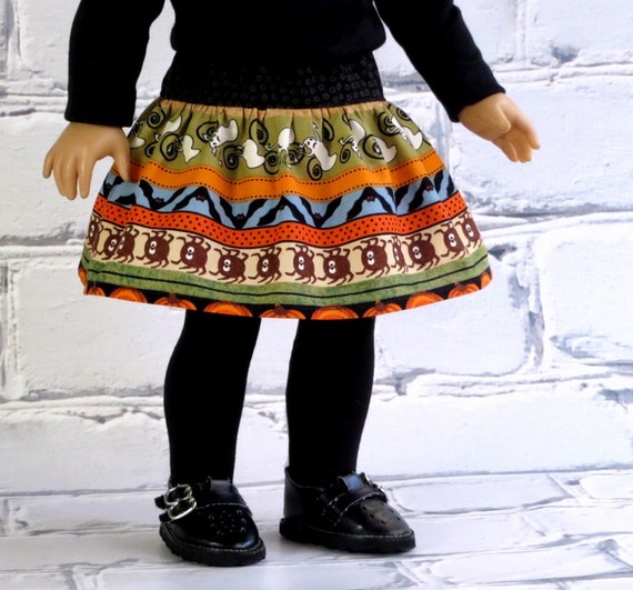 Halloween Skirt fits American Girl Doll, 18 inch Doll Clothes Twirl Skirt, Tiered Skirt