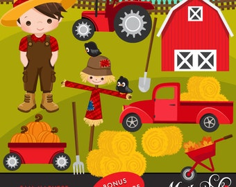 Farm clipart Fall Harvest. Cute farmer characters, tractor, red barn, haystacks, pick up truck, pumpkins, fall leaves and scarecrow graphics