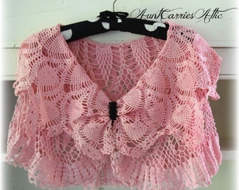 Pink Crochet Shawl Two Layers Shabby Chic Clothing Breast Cancer Awareness Mori Girl Style