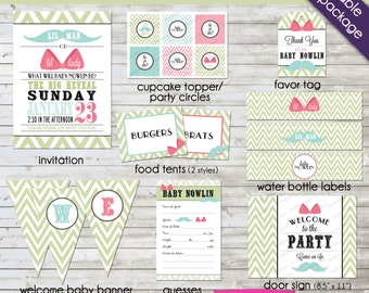 Lil Man or Lil Lady gender reveal party package - digital printables for a complete party
